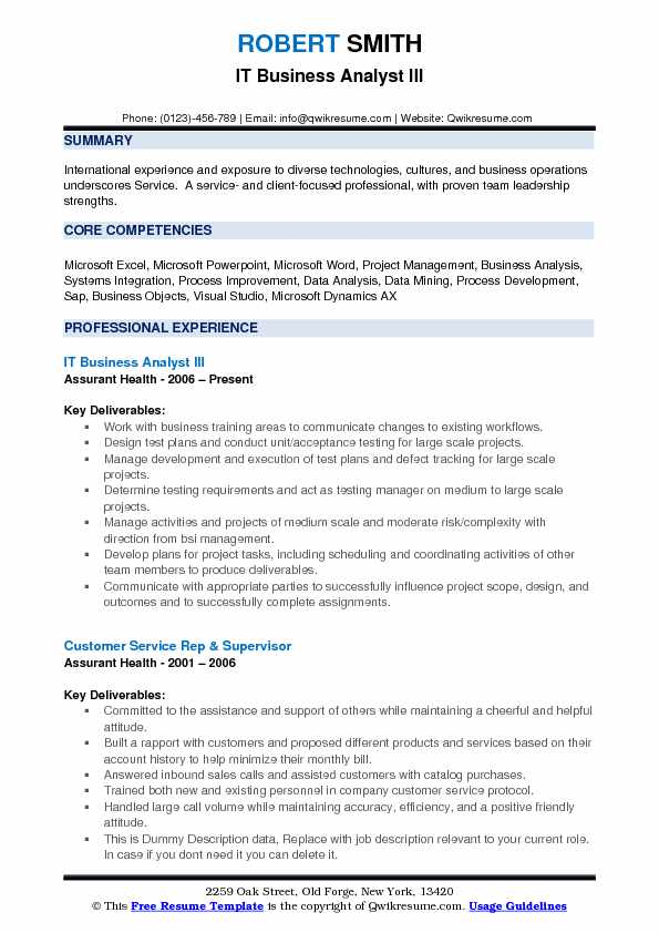 IT Business Analyst III Resume Template