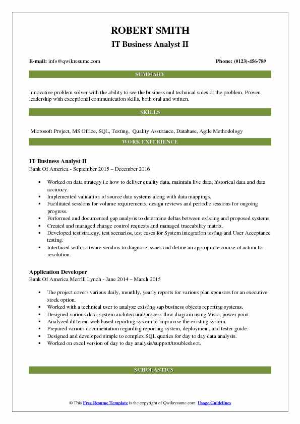 IT Business Analyst II Resume Sample