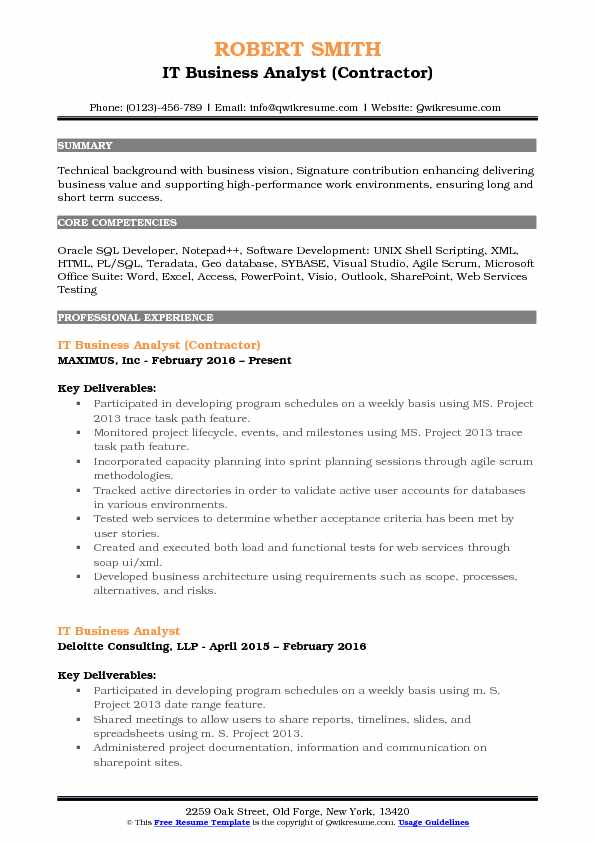 User Stories And Acceptance Criteria Business Analyst Resume Sample