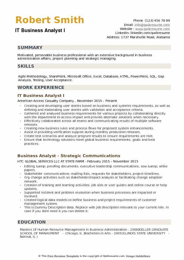 IT Business Analyst I Resume Template