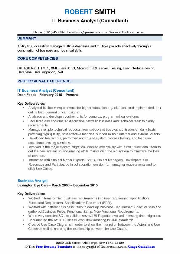 IT Business Analyst (Consultant) Resume Format