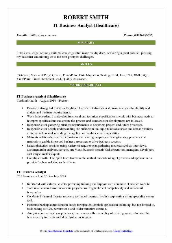 IT Business Analyst (Healthcare) Resume Example