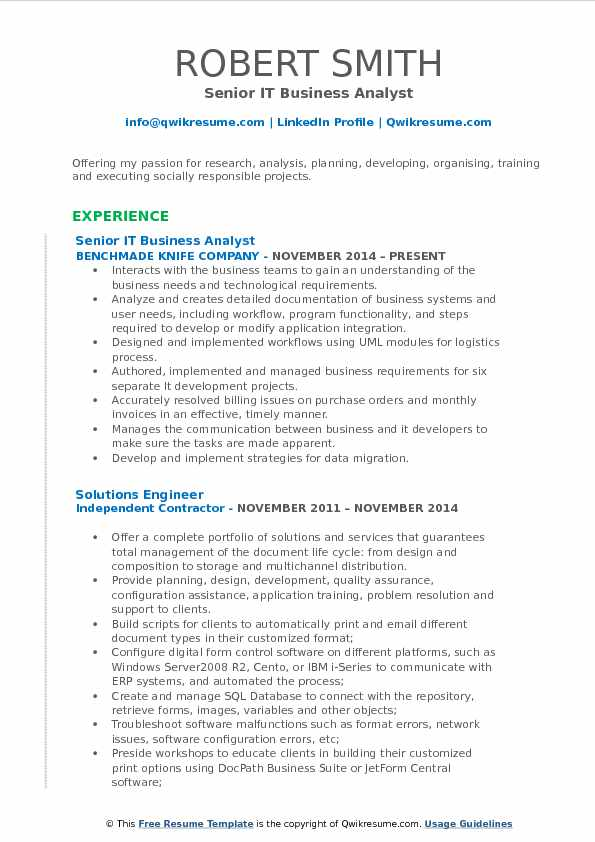 it business analyst resume samples