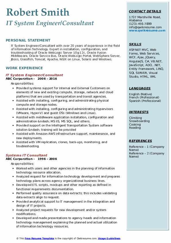 IT Consultant Resume Samples | QwikResume