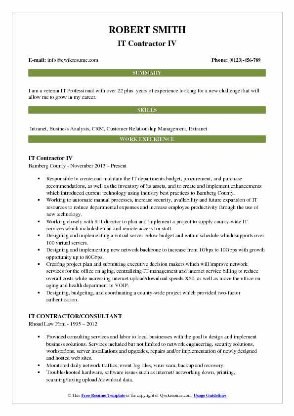 IT Contractor IV Resume Example