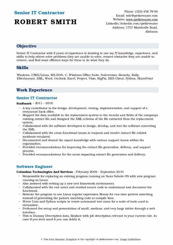 Senior IT Contractor Resume Model