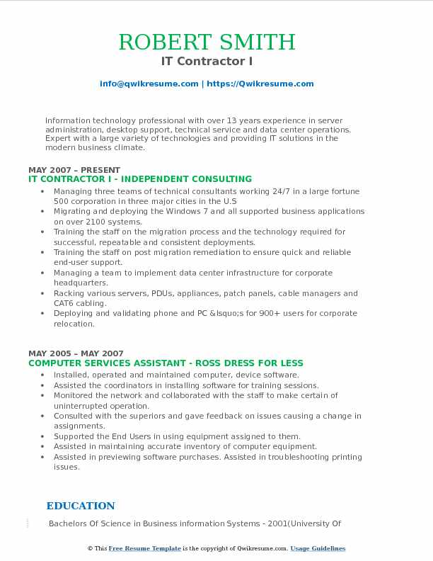 IT Contractor I Resume Sample
