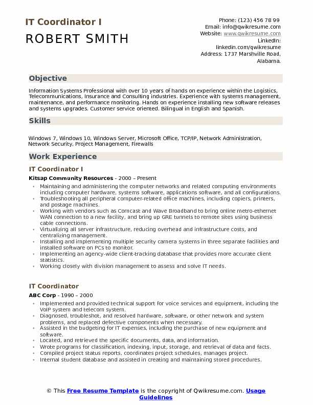 IT Coordinator I Resume Template