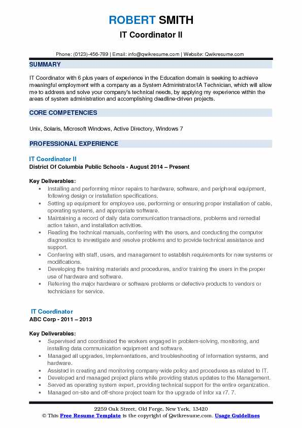 IT Coordinator II Resume Template