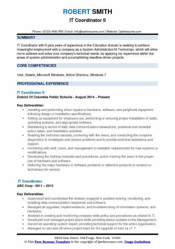 IT Coordinator II Resume Format