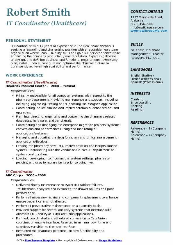 IT Coordinator (Healthcare) Resume Sample
