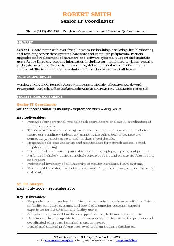 Senior IT Coordinator Resume Sample