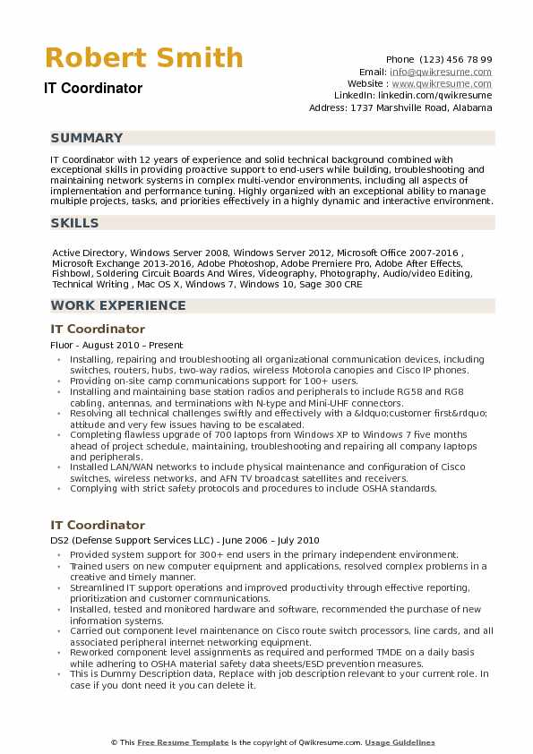 IT Coordinator Resume example