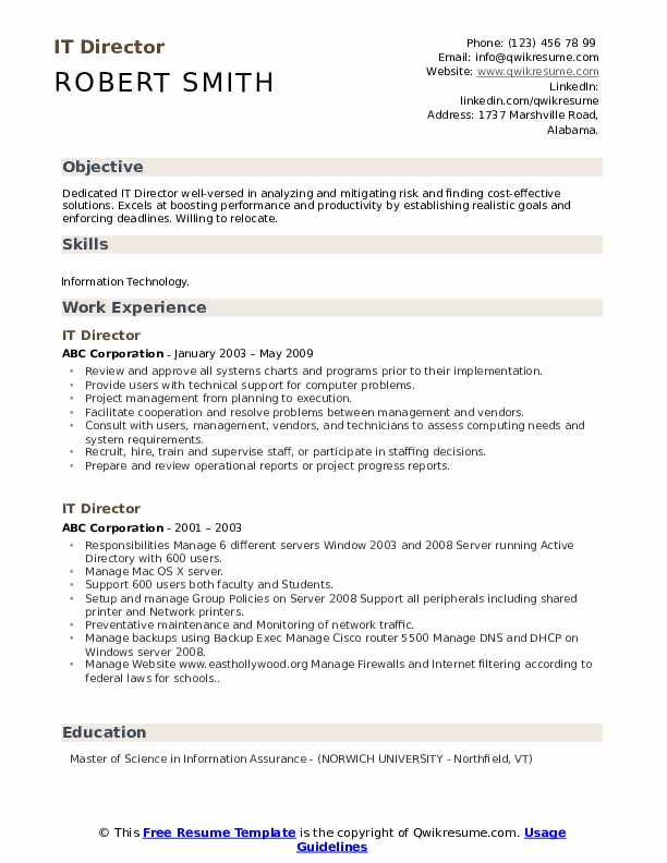 IT Director Resume Template