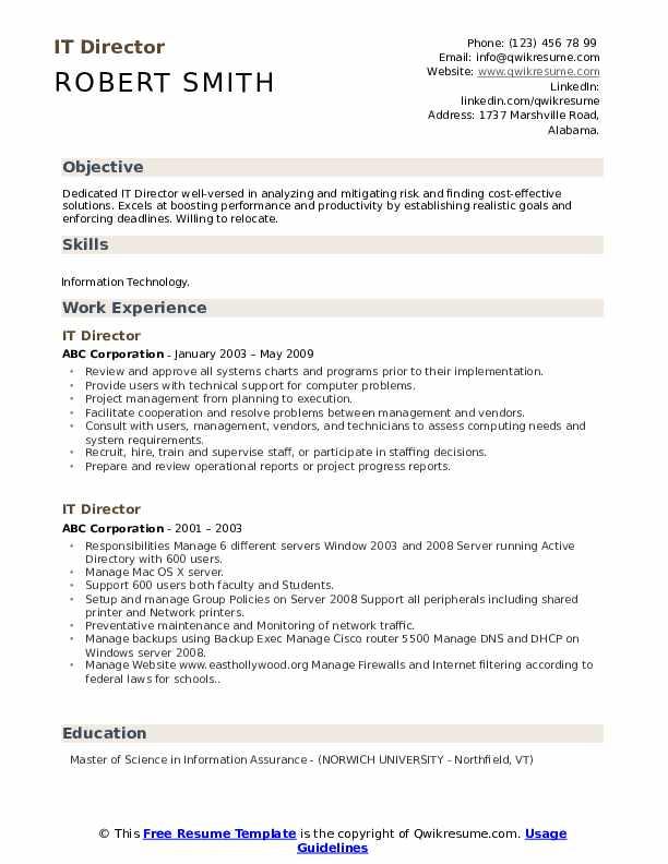 IT Director Resume Samples | QwikResume