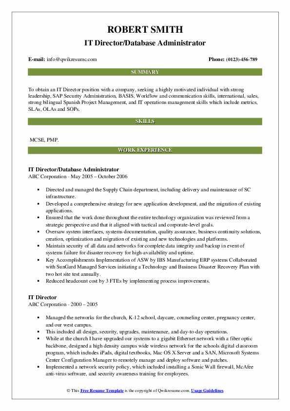 IT Director/Database Administrator Resume Format