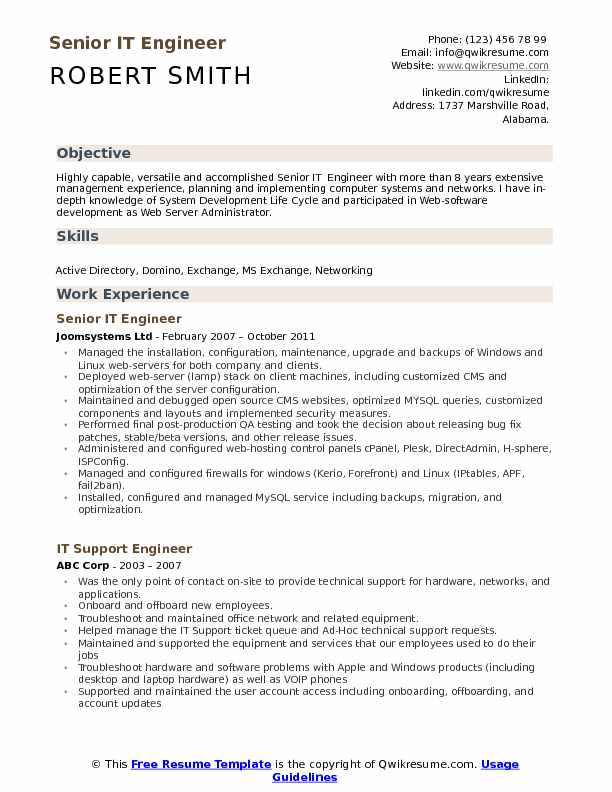 Senior IT Engineer  Resume Format