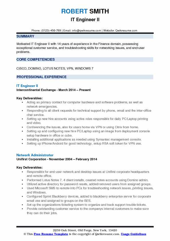 IT Engineer II Resume Format