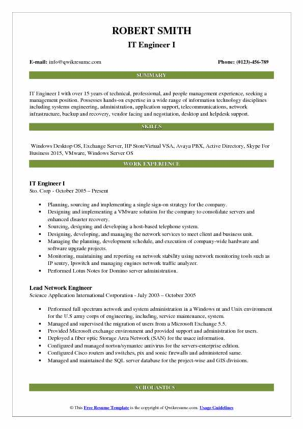 IT Engineer I Resume Format