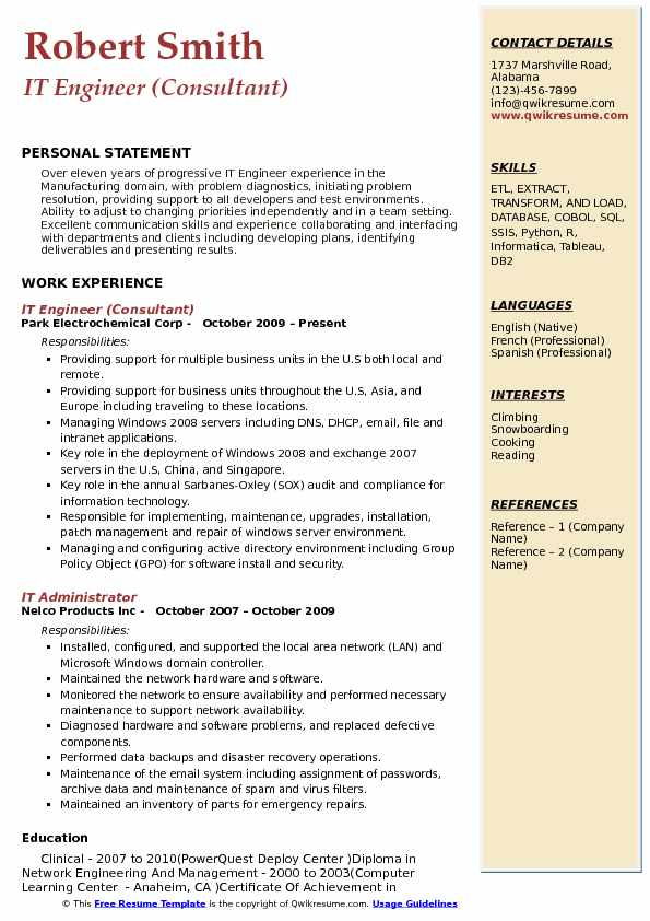 it engineer resume samples