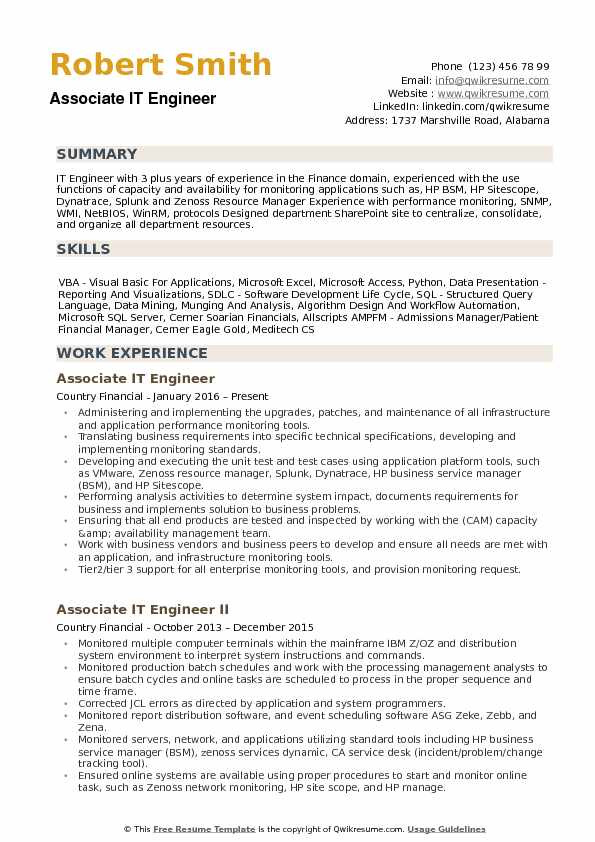 Associate IT Engineer Resume Sample