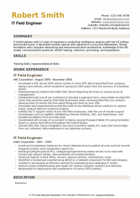 IT Field Engineer Resume example