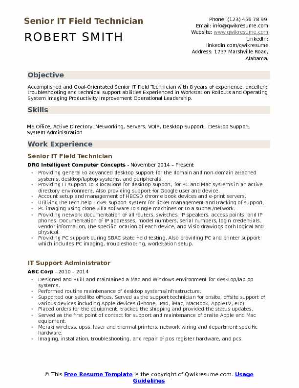 Senior IT Field Technician  Resume Sample