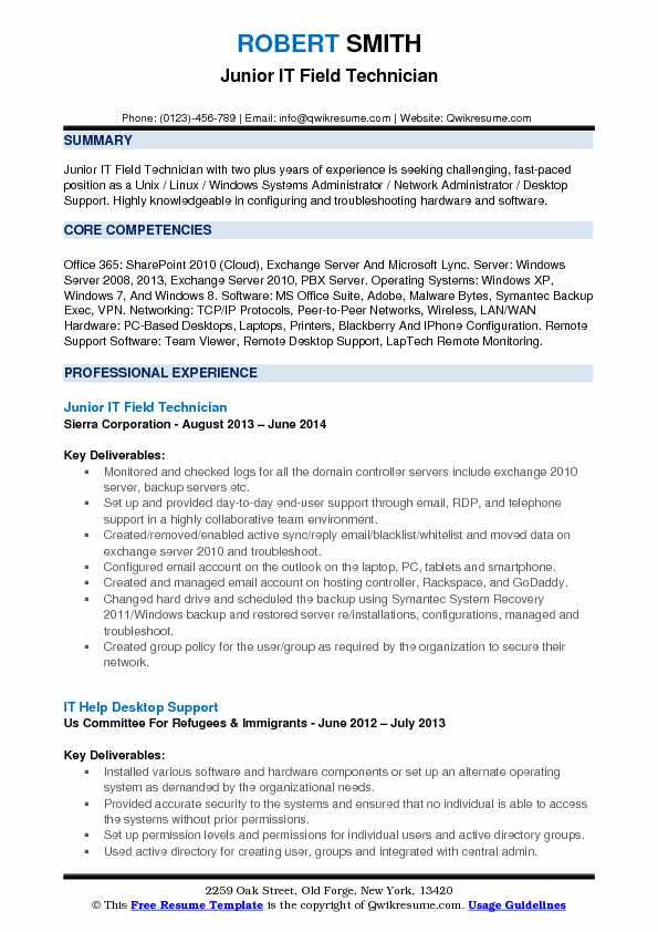 Junior IT Field Technician Resume Sample