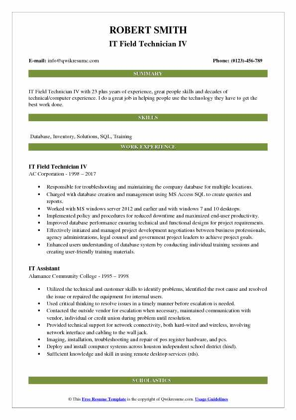 IT Field Technician IV Resume Example
