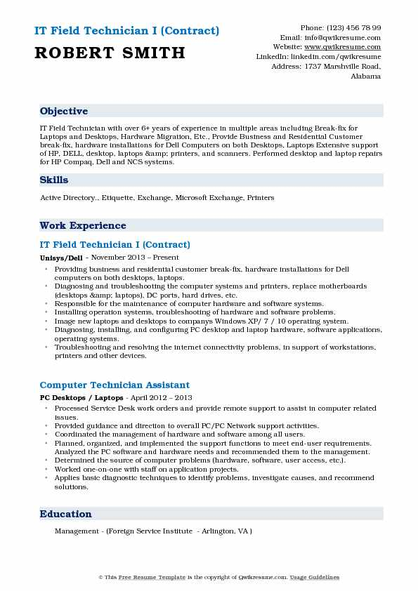 IT Field Technician I (Contract) Resume Example