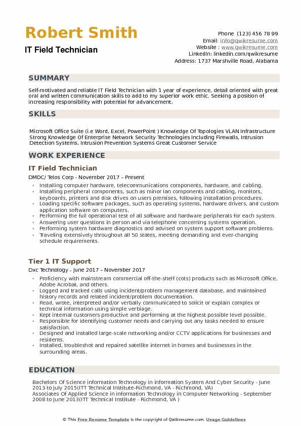 IT Field Technician Resume Samples | QwikResume
