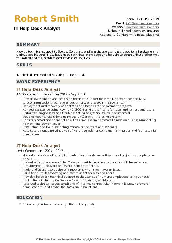 IT Help Desk Analyst Resume example