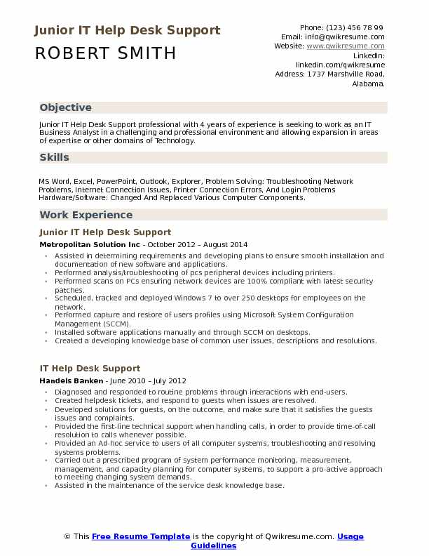 Junior IT Help Desk Support Resume Sample