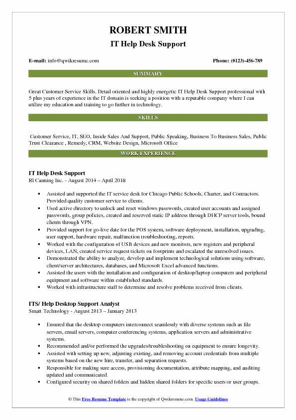 IT Help Desk Support Resume Model