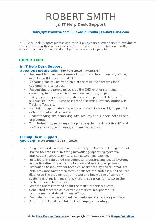 Jr. IT Help Desk Support Resume Example