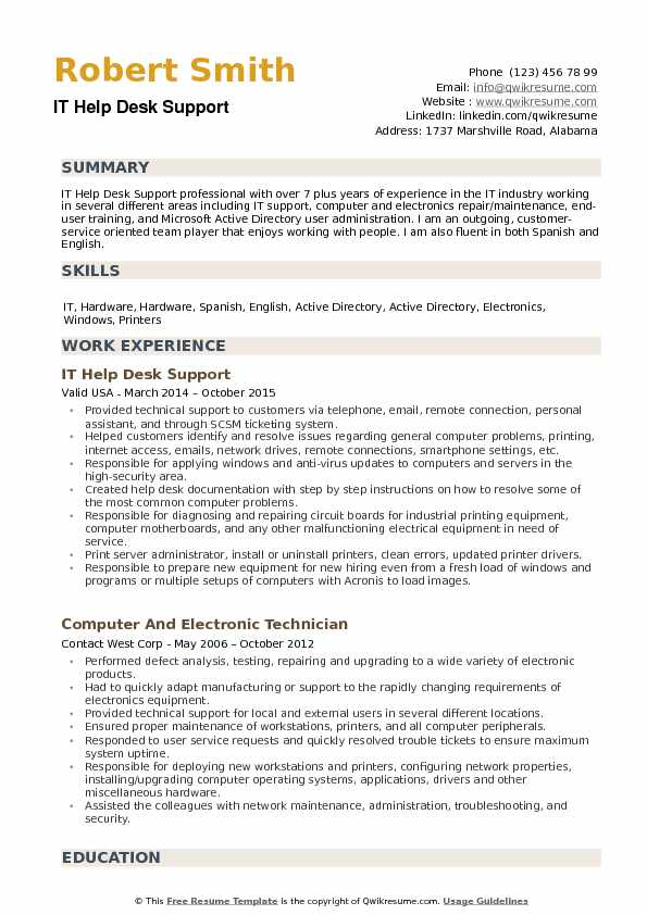 IT Help Desk Support Resume example