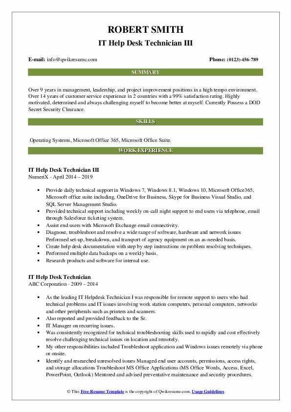IT Help Desk Technician III Resume Model