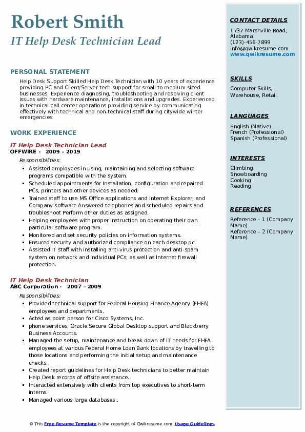 IT Help Desk Technician Lead Resume Example