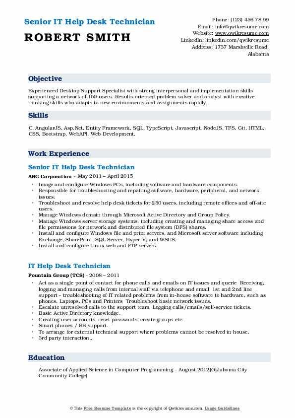 Senior IT Help Desk Technician Resume Template