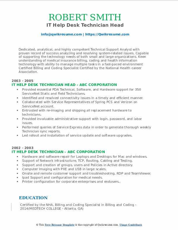IT Help Desk Technician Head Resume Example