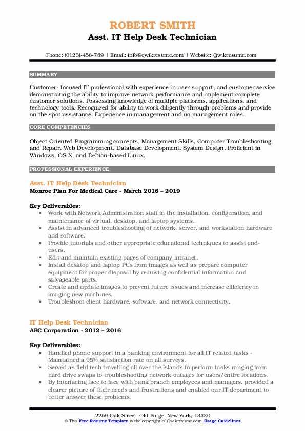 Asst. IT Help Desk Technician Resume Model