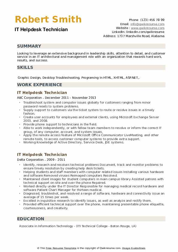 IT Helpdesk Technician Resume example