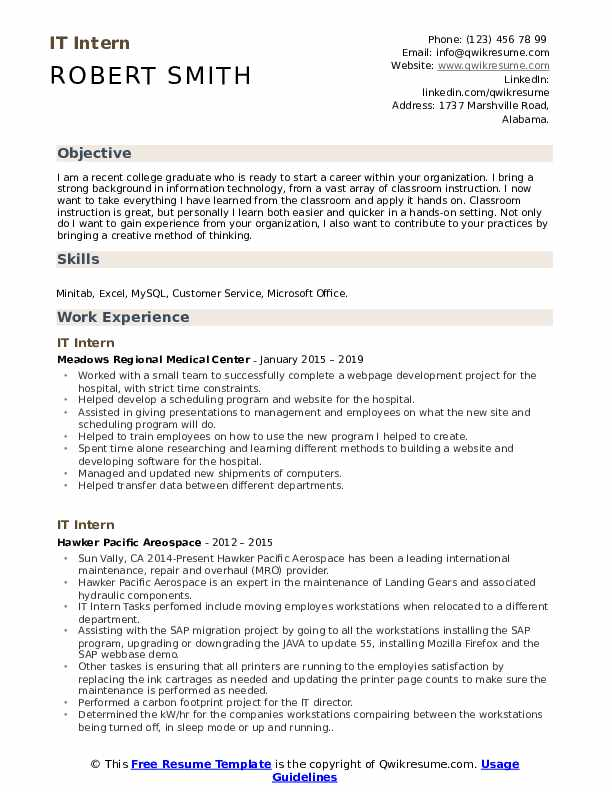 IT Intern Resume Format