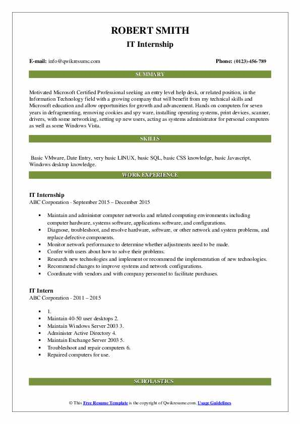 IT Internship Resume Model