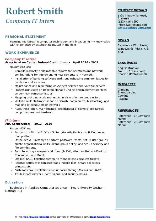 Company IT Intern Resume Template