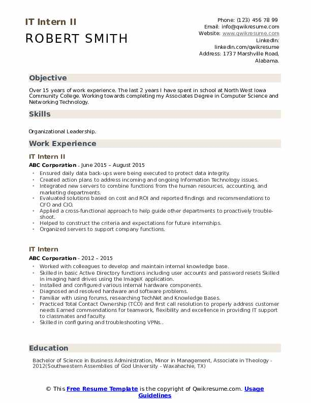 IT Intern II Resume Format