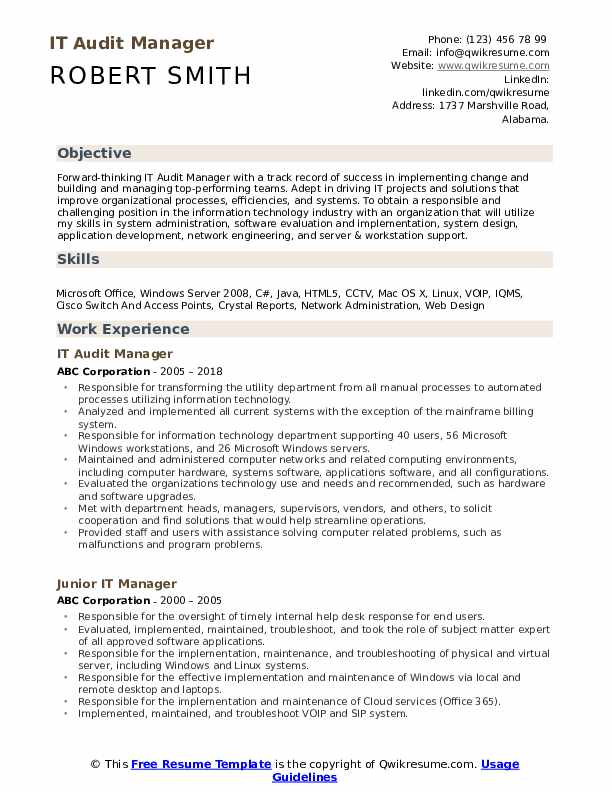IT Audit Manager Resume Sample