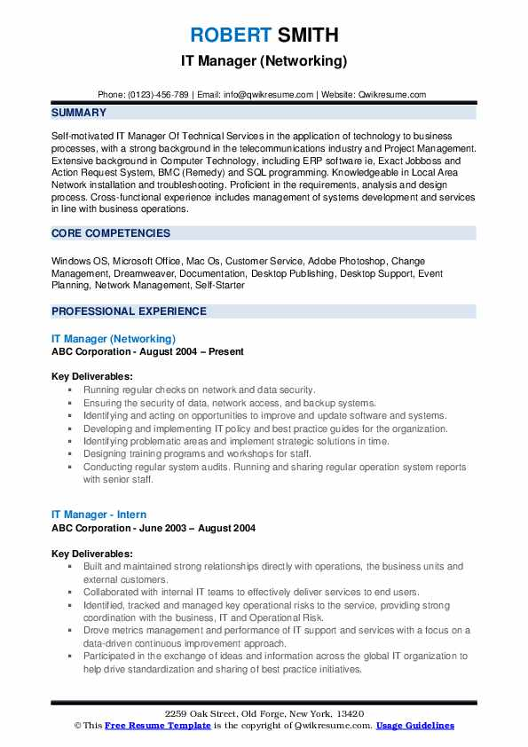 IT Manager (Networking) Resume Template