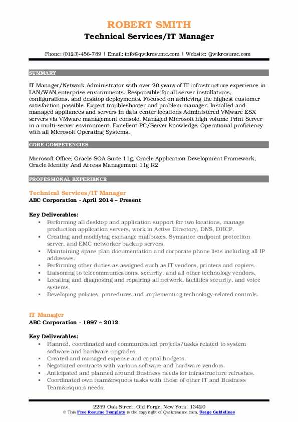 Technical Services/IT Manager Resume Template