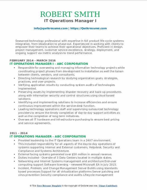 It Operations Manager Resume Samples Qwikresume